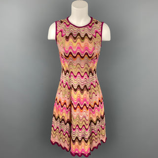 MISSONI Size 2 Fuchsia Multi-Color Zig Zag Rayon / Wool Sleeveless Dress