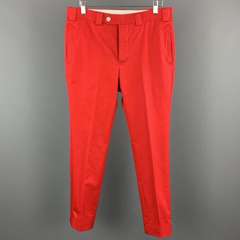 BLACK FLEECE Size 32 x 29 Red Cotton Blend Button Fly Casual Pants