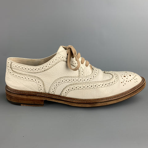 TO BOOT NY Size 12 White Perforated Leather Wingtip Lace Up Shoes