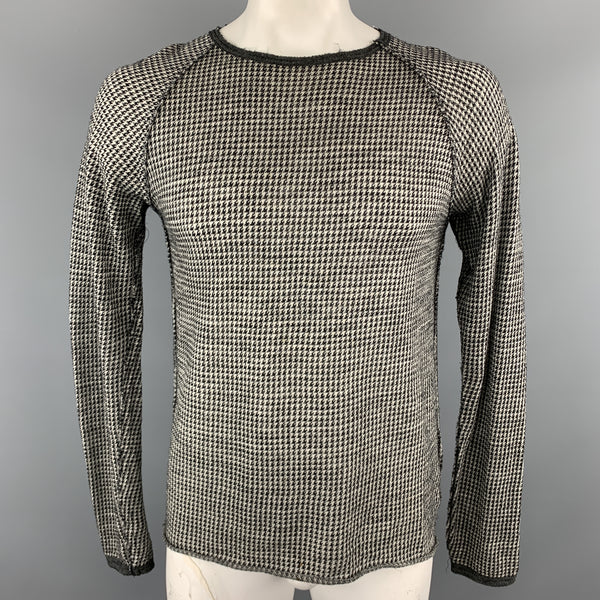 V :: ROOM Size L Black & Grey Houndstooth Wool Raglan Sleeves Pullover Sweater