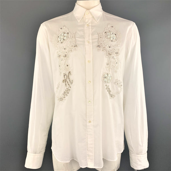 ROBERTO CAVALLI Size XXL White Cotton Beaded Rhinestone Floral Dress Shirt