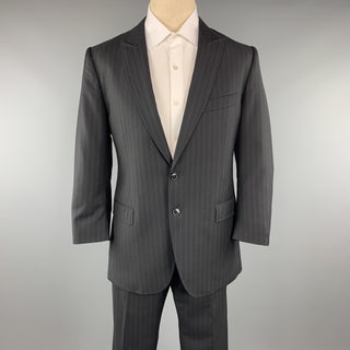 DOLCE & GABBANA 42 Regular Black Wool Peak Lapel 34 x 28 Suit