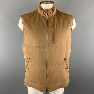 BRUNELLO CUCINELLI Size XXL Brown Quilted Cotton High Collar Zip Up Vest
