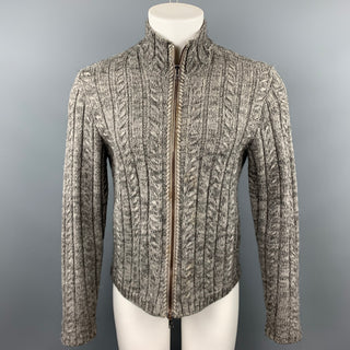 JOHN VARVATOS Size M Gray Cable Knit Wool / Alpaca Zip Up Cardigan