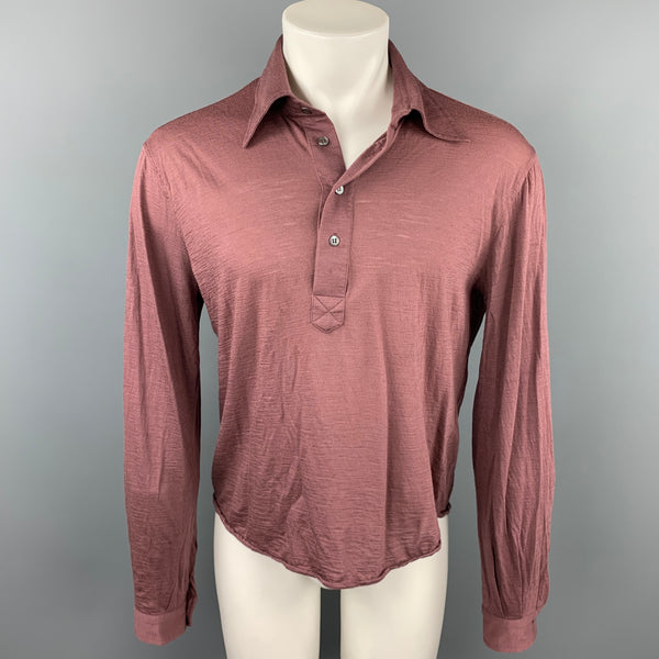 CoSTUME NATIONAL Size M Mauve Wool Buttoned Long Sleeve Polo