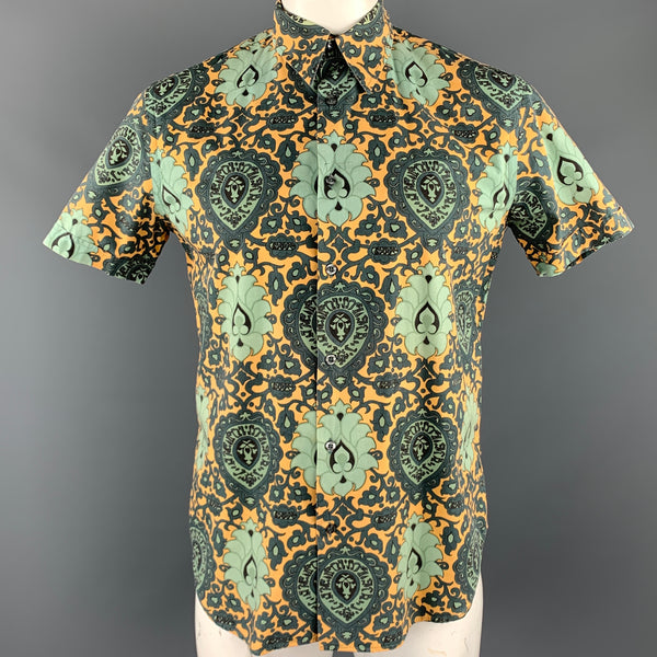 PS by PAUL SMITH Size M Green & Yellow Print Cotton Button Up Short Sleeve Shirt
