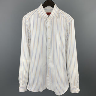 ISAIA Size M White Stripe Cotton Button Up Long Sleeve Shirt