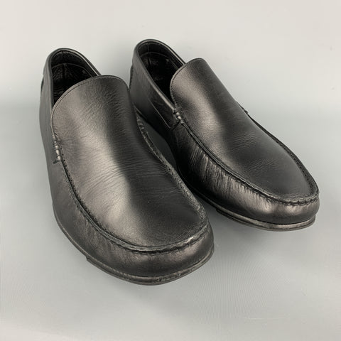ERMENEGILDO ZEGNA Size 11.5 Black Solid Leather Drivers Loafers