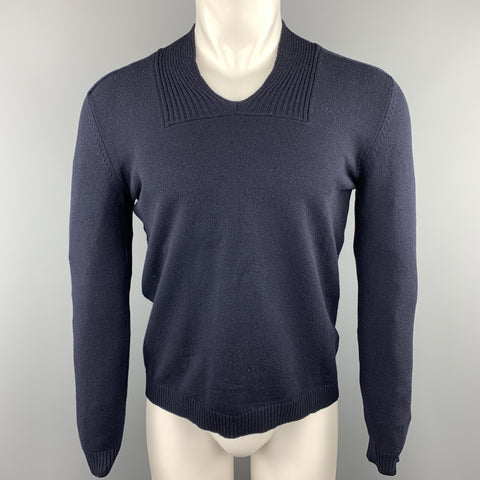 JIL SANDER Size 40 Navy Solid Wool / Polyester Ribbed Collar Sweater