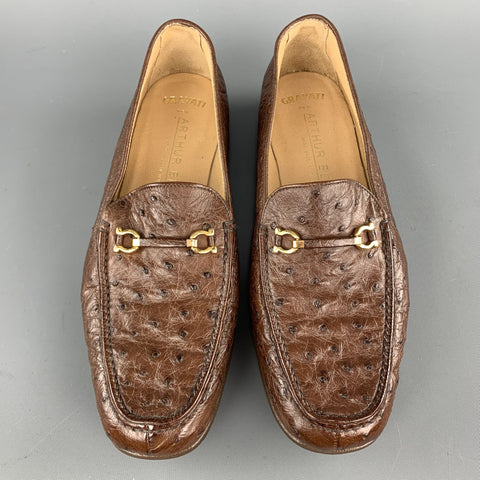 GRAVATI Size 7.5 Brown Ostrich Leather Horsebit Loafers