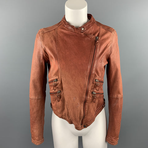 VINTAGE Size L Rust Brown Distressed Leather Zip Up Jacket