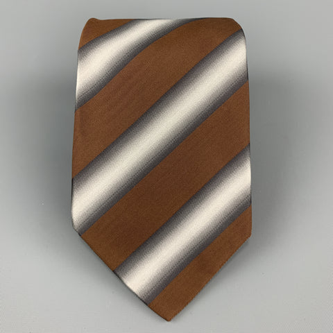 PRADA Brown & Silver Striped Silk Tie