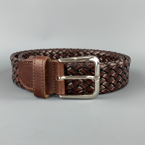 TINO COSMA Size 36 Woven Brown Leather Silver Chrome Buckle Belt