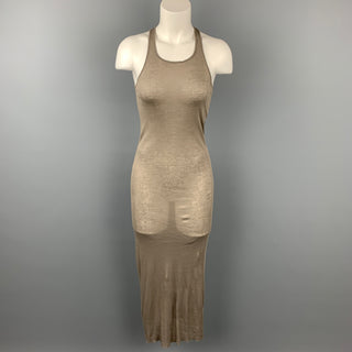 RICK OWENS F/W 19 Size 4 Taupe Cotton Lary Tank Dress