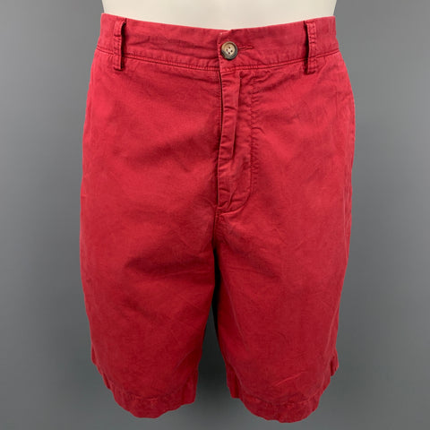 FACONNABLE Size 34 Burgundy Cotton Zip Fly Shorts