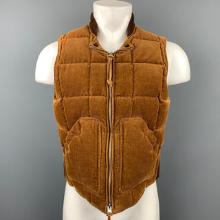 MONITALY Size M Brown Quilted Corduroy Zip Up Vest