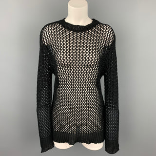 DRIES VAN NOTEN Size L Black Mesh Cotton Crew-neck Pullover