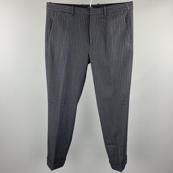 THEORY Size 34 Charcoal Stripe Wool Zip Fly Dress Pants