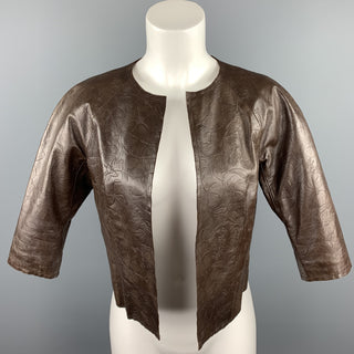 CHAIKEN Size S Brown Floral Embossed Leather Open Front Jacket
