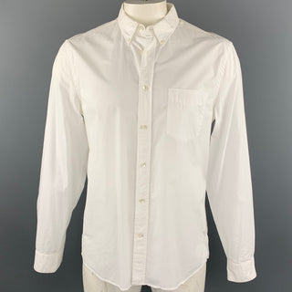 ACNE STUDIOS Size L White Cotton Button Down Long Sleeve Shirt
