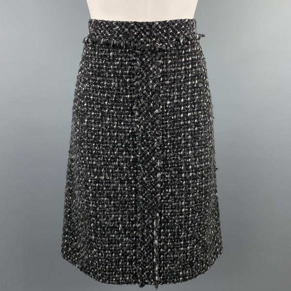 CAROLINA HERRERA Size 4 Black & Grey Boucle Textured Wool Blend Skirt