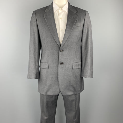 PRADA 40 Regular Gray Wool Notch Lapel Suit