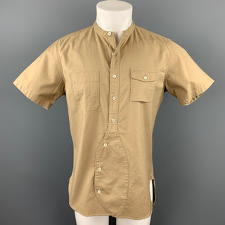 WOOSTER + LARDINI Size M Khaki Cotton Nehru Collar Short Sleeve Shirt