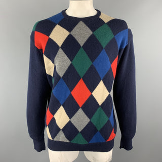 HOMER REED Size L Navy Argyle Wool / Angora Crew-Neck Pullover Sweater