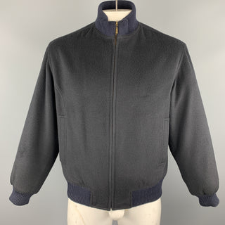 PIER LUIGI DELLA SPINA Chest Size S Navy Solid Cashmere Zip Up Jacket