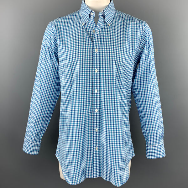 HAMILTON Size L Teal Plaid Cotton Button Down Long Sleeve Shirt