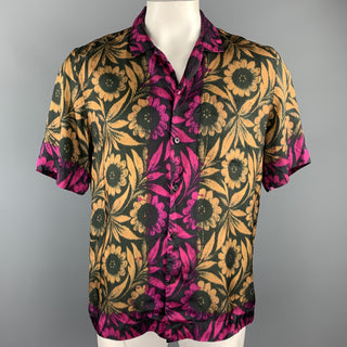 DRIES VAN NOTEN Size L Black & Gold Floral Viscose Camp Short Sleeve Shirt