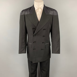 JEAN PAUL GAULTIER CLASSIQUE Size 38 Black Wool Peak Lapel Double Breasted Suit