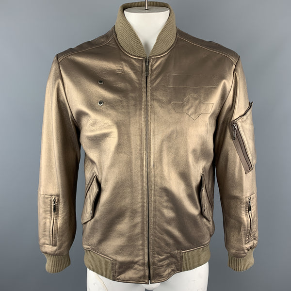 KENNETH COLE 42 Gold Metallic Leather Zip Up Vintage Bomber Style Jacket