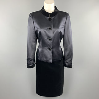 AKRIS Size 8 Navy Wool Satin & Black Velvet Skirt Suit