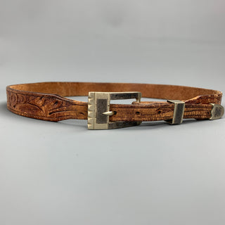 VINTAGE Size 30 Brown Carved Leather Skinny Belt