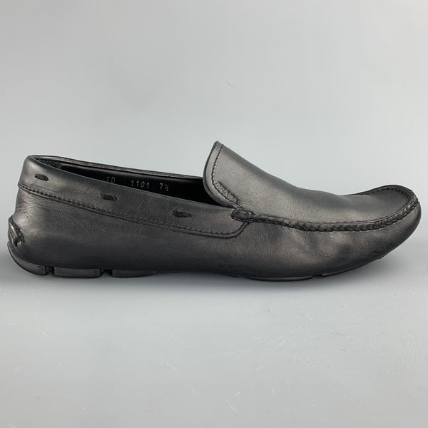 PRADA Size 8.5 Black Leather Drivers Loafers
