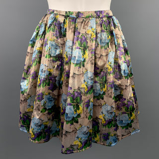 MSGM Size 6 Gold & Purple Floral Polyamide Elastic Waistband A-Line Skirt