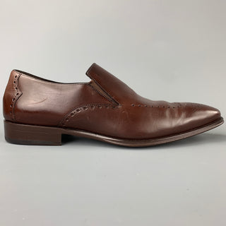 MEZLAN Size 10 Brown Perforated Leather Slip On Loafers