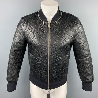 NEIL BARRETT Size S Black Quilted Leather Zip Up Bomber Jacket