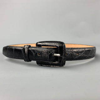 WCM NEW YORK Size S Black Embossed Leather Belt