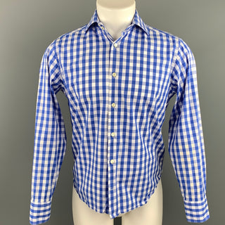 EREDI PISANO Size S Blue & White Checkered Cotton Button Up Long Sleeve Shirt