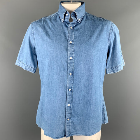 MICHAEL BASTIAN Size L Light Blue Cotton Button Down Short Sleeve Shirt