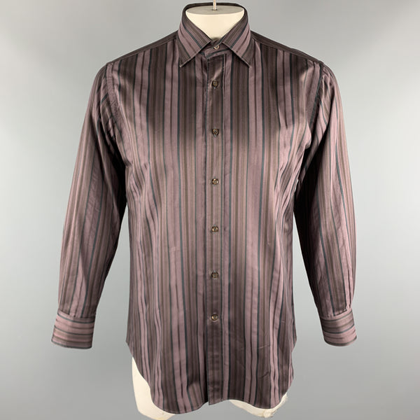 ETRO Size M Brown Stripe Cotton Button Up Long Sleeve Shirt
