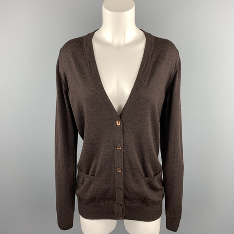DOLCE & GABBANA Size 6 Brown Knitted Virgin Wool Cardigan