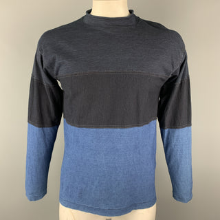 45rpm Size M IndigoColor Block  Patchwork Cotton Mock Neck Pullover