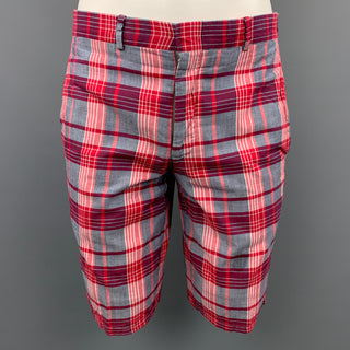 GITMAN VINTAGE Size 30 Red & Grey Plaid Cotton Zip Fly Shorts