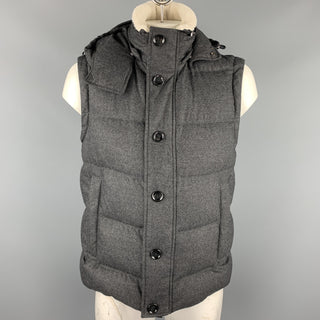 HUGO BOSS Size 44 Charcoal Quilted Wool Blend Hooded Down Vest
