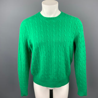 RALPH LAUREN Size M Green Cable Knit Cashmere Crew-Neck Sweater