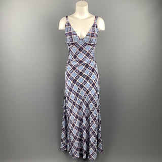 MARC JACOBS Size 8 Blue Plaid Silk Long Maxi Double Strap Dress