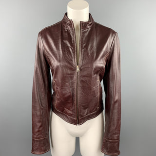 LOT78 Size 8 Burgundy Contrast Stitch Leather Zip Up Jacket